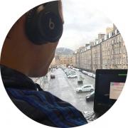 Student listening to webinar