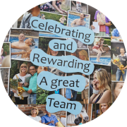Photo collage with text - Celebrating and Rewarding A great Team