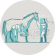 Two tone Illustration of equine vet and horse