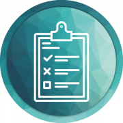 Survey clipboard graphic on green faceted background
