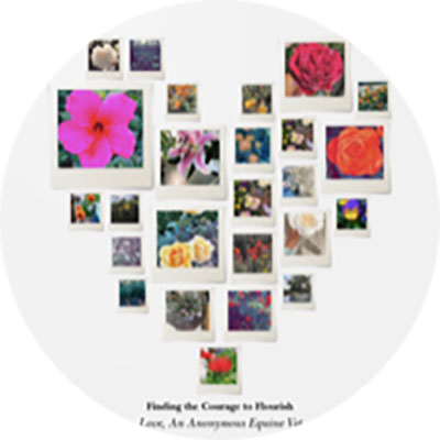 Zoe Davidson's heart wall made of pictures of flowers
